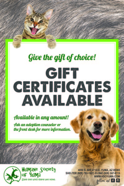 *In the event you fall in love with an animal who's adoption fee is waived, the value of your gift certificate becomes a donation for the Humane Society of ...
