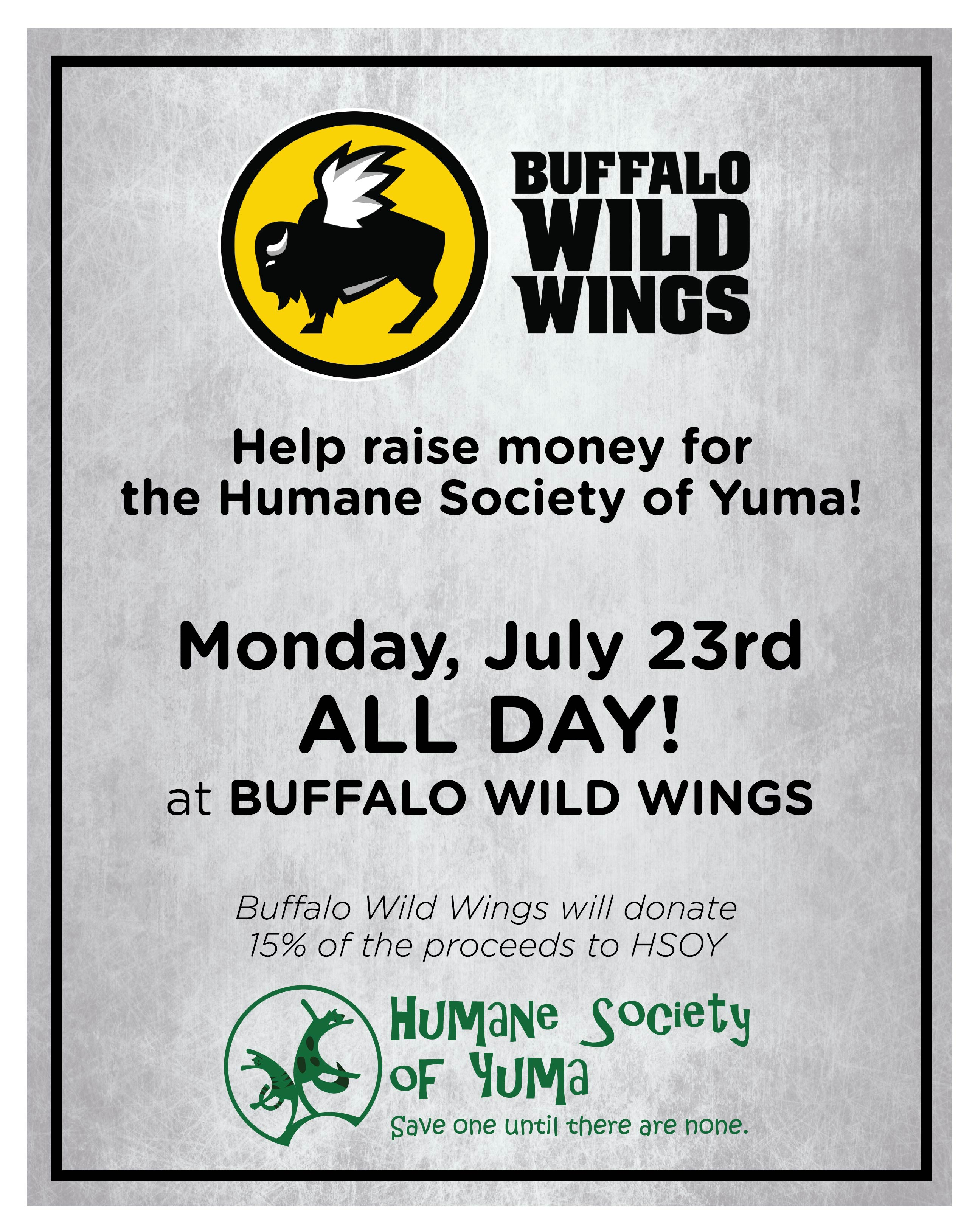 PAWS at Buffalo Wild Wings - Humane Society of Yuma - Animal Shelter ...